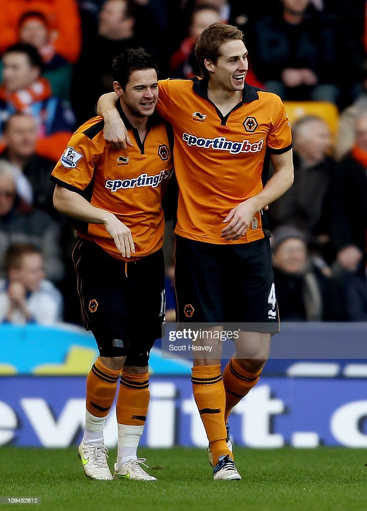 Matt Jarvis of Wolves (L) celebrates with David Edwards after scoring their first goal during the Barclays Premier League match between Wolverhampton Wanderers and Blackpool at Molineux on February 26, 2011 in Wolverhampton, England.
