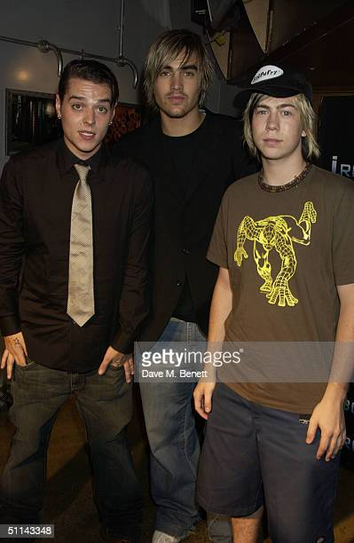 Matt Jay Charlie Simpson and James Bourne of the band Busted attend the afterparty following the UK Premiere of I Robot on August 4 2004 at Fabric in...
