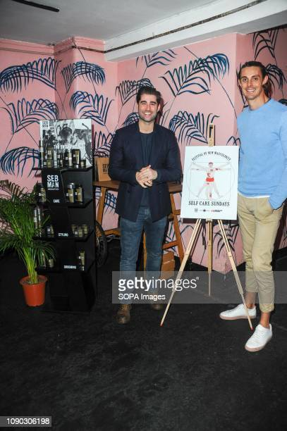 Matt Johnson and Ben Bidwell seen during the discussion The Book of Man hosts discussion on food grooming and lifestyle with Seb Man a new grooming...