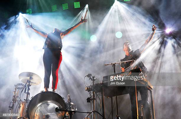 Matt Johnson and Kim Schifino of Matt and Kim perform live on stage at SSE Arena Wembley on October 11 2015 in London England