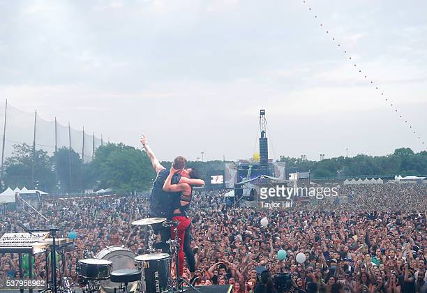 Matt Johnson and Kim Schifino of Matt and Kim perform onstage during the 2016 Governors Ball Music Festival at Randall's Island on June 3 2016 in New...