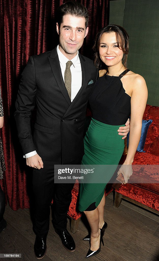 Matt Johnson (L) and Samantha Barks attend an after party following the London Critics Circle Film Awards at Quince Restaurant, The May Fair Hotel on January 20, 2013 in London, England.