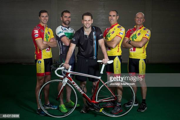 Matt Johnson, Brad McGee, Simon Clarke, Brett Butler and Steve Brown pose during the Below The Belt Pedalthon Launch at Moore Park on August 29, 2014...
