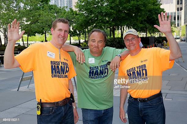 Matt Johnson CEO Chicagoland Habitat for Humanity Actor Jim Belushi and Ted Dosch Raise Your Hand Chicagoland Steering Committee Chair Anixter...