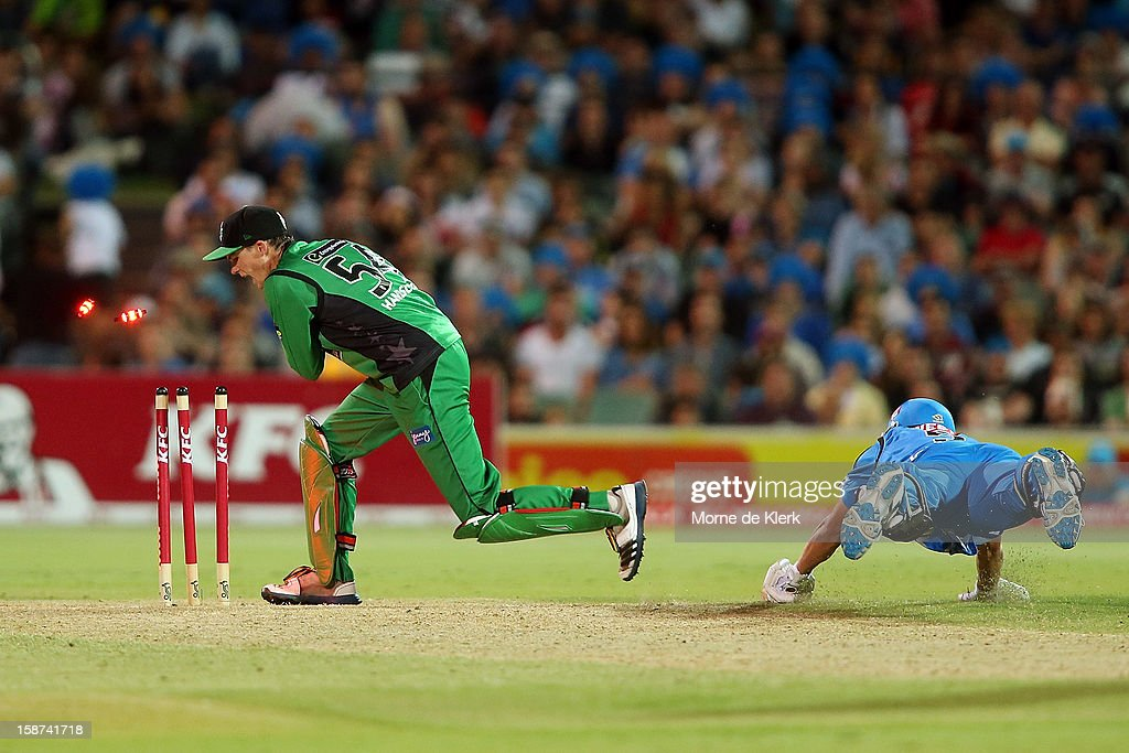 Matt Johnston of the Strikers makes his ground during the Big Bash League match between the Adelaide Strikers and the Melbourne Stars at Adelaide Oval on December 27, 2012 in Adelaide, Australia.