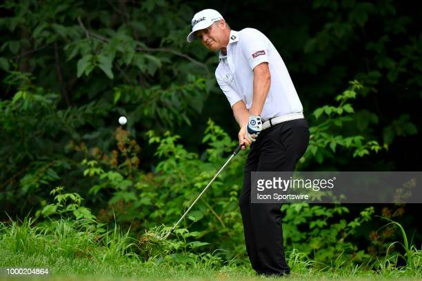 Matt Jones hits a shot on the seventh hole during the final round of the John Deere Classic on July 15 2018 at the TPC Deere Run in Silvis Illinois