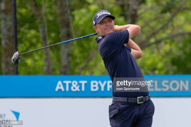 Matt Jones hits his tee shot on during the first round of the AT&T Byron Nelson on May 9, 2019 at Trinity Forest Golf Club in Dallas, TX.