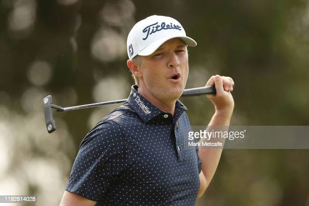 Matt Jones of Australia celebrates holing a birdie putt on the 17th green during day four of the 2019 Australian Golf Open at The Australian Golf...