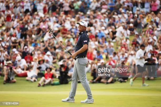 Matt Jones of Australia celebrates holing a putt on the 18th green to win the 2019 Australian Open during day four of the 2019 Australian Golf Open...