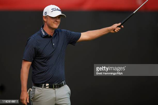 Matt Jones of Australia celebrates victory on the 18th green during The Open Qualifying Series, part of the Emirates Australian Open at The...