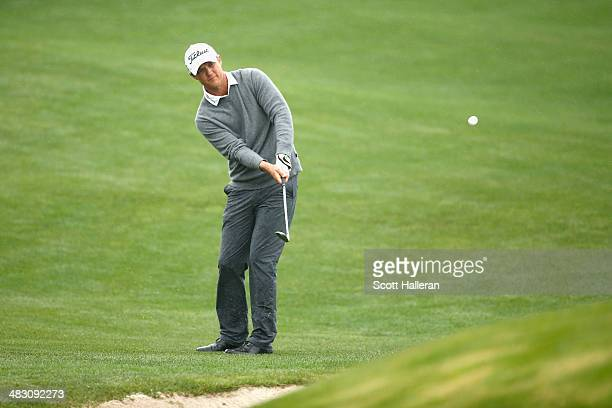 Matt Jones of Australia chips for birdie on the eighteenth hole during the final round of the Shell Houston Open at the Golf Club of Houston on April...