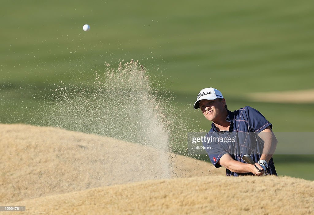 Matt Jones of Australia hits a bunker shot to the fourth green during the first round of the Humana Challenge In Partnership With The Clinton Foundation at the Nicklaus Private Course at PGA West on January 17, 2013 in La Quinta, California.