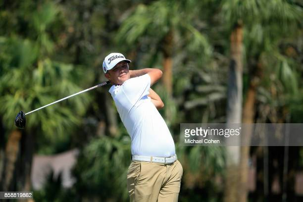 Matt Jones of Australia hits his drive during the first round of the Webcom Tour Championship held at Atlantic Beach Country Club on September 28...
