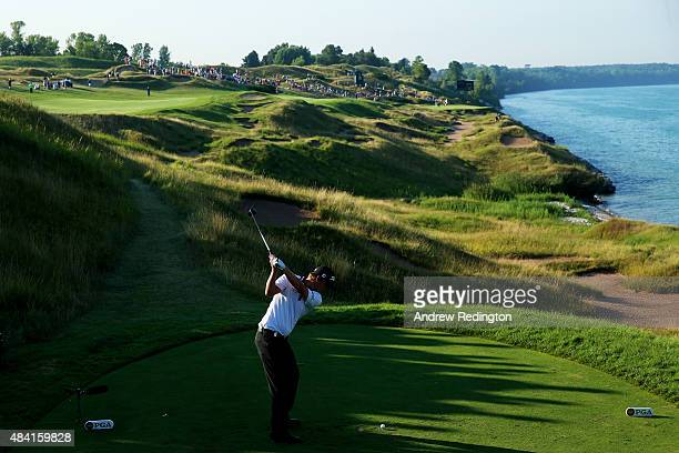 Matt Jones of Australia hits his tee shot on the 13th hole during the third round of the 2015 PGA Championship at Whistling Straits on August 15 2015...