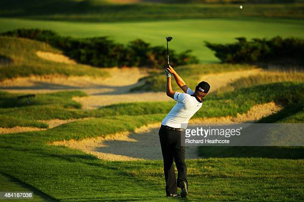 Matt Jones of Australia on the 16th hole during the third round of the 2015 PGA Championship at Whistling Straits on August 15 2015 in Sheboygan...
