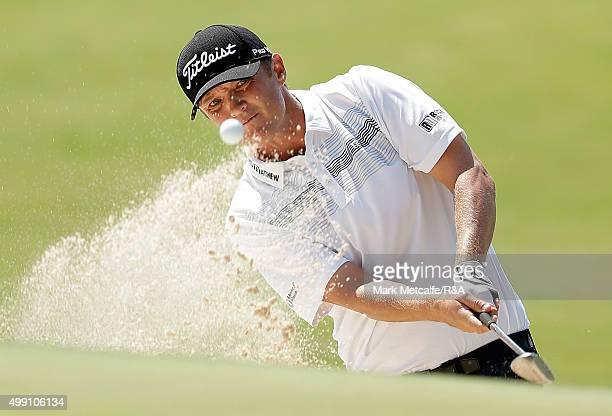 Matt Jones of Australia plays a bunker shot on the 10th hole during day four of the 2015 Australian Open at The Australian Golf Club on November 29,...