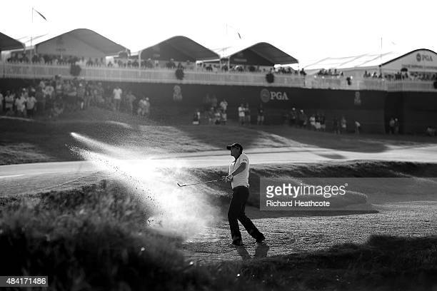 Matt Jones of Australia plays a bunker shot on the 15th hole during the third round of the 2015 PGA Championship at Whistling Straits on August 15...