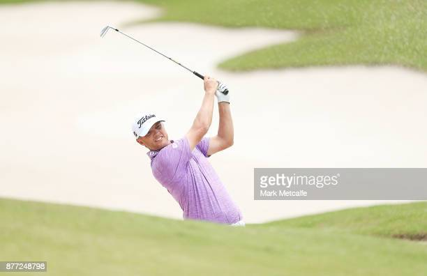 Matt Jones of Australia plays a bunker shot on the 1st hole during the Pro-Am ahead of the 2017 Australian Golf Open at The Australian Golf Club on...
