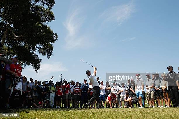 Matt Jones of Australia plays his approach shot on the 9th hole during day four of the Australian Open at The Australian Golf Club on November 29,...
