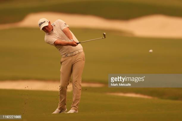 Matt Jones of Australia plays his fairway shot on the 18th hole during day two of the 2019 Australian Golf Open at The Australian Golf Club on...