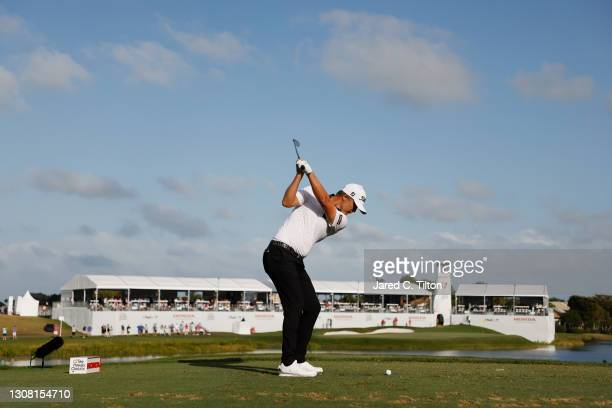 Matt Jones of Australia plays his shot from the 17th tee during the third round of The Honda Classic at PGA National Champion course on March 20,...