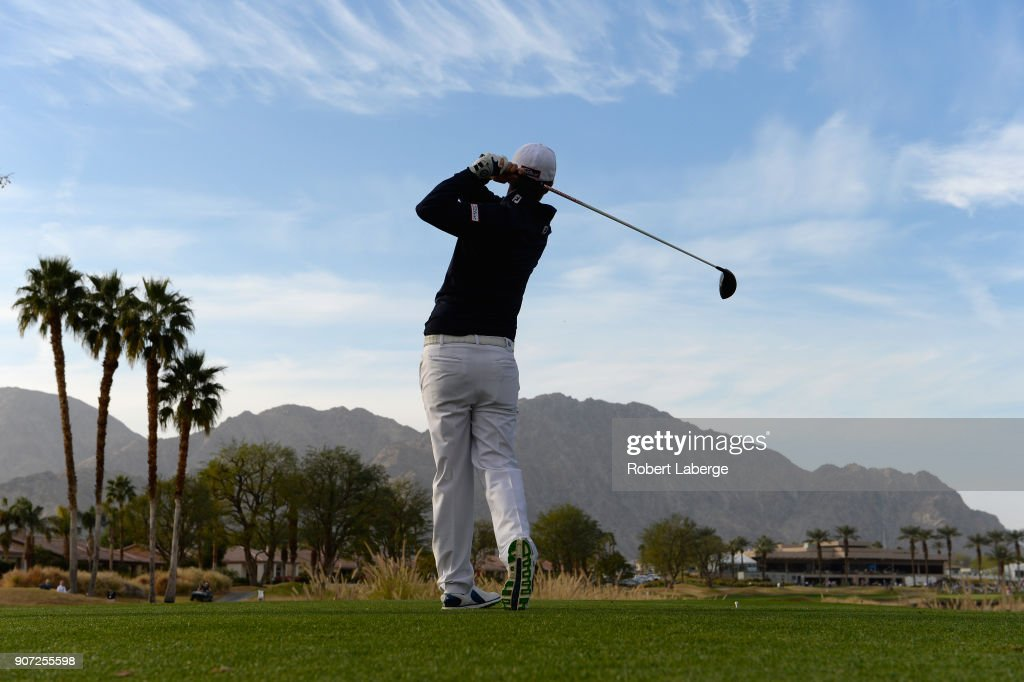Matt Jones of Australia plays his shot from the 18th tee during the second round of the CareerBuilder Challenge at the Jack Nicklaus Tournament Course at PGA West on January 19, 2018 in La Quinta, California.