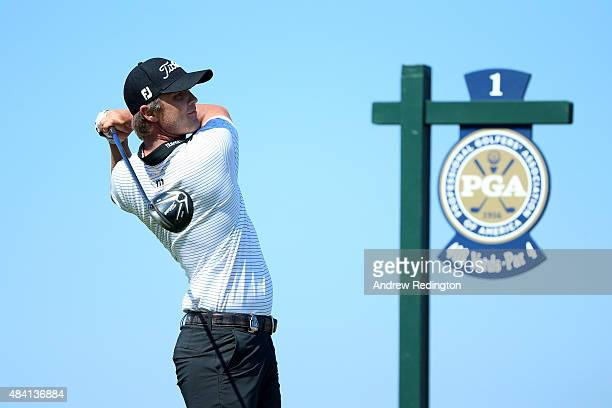 Matt Jones of Australia plays his shot from the first tee during the third round of the 2015 PGA Championship at Whistling Straits on August 15, 2015...