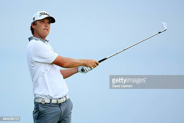 Matt Jones of Australia plays his shot from the third tee during the second round of the 2015 PGA Championship at Whistling Straits on August 14,...