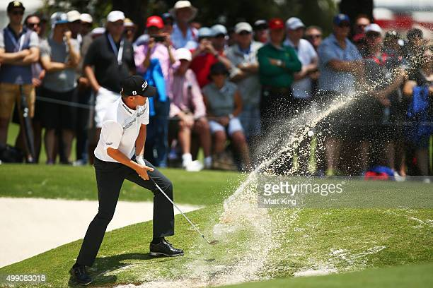 Matt Jones of Australia plays out of the bunker on the 2nd hole during day four of the Australian Open at The Australian Golf Club on November 29,...