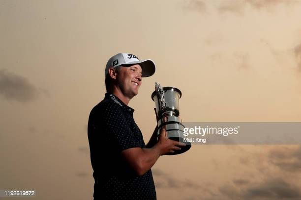 Matt Jones of Australia poses with the Stonehaven cup after winning the 2019 Australian Open during day four of the 2019 Australian Golf Open at The...