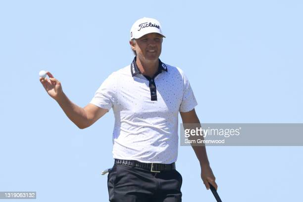 Matt Jones of Australia reacts on the 14th green during the first round of the 2021 PGA Championship at Kiawah Island Resort's Ocean Course on May...