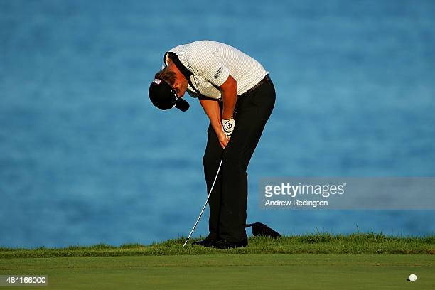 Matt Jones of Australia reacts on the 16th green during the third round of the 2015 PGA Championship at Whistling Straits at on August 15, 2015 in...