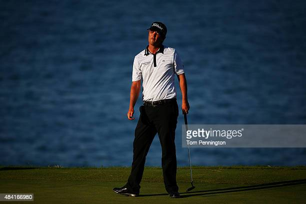Matt Jones of Australia reacts to a missed putt on the 13th green during the third round of the 2015 PGA Championship at Whistling Straits on August...