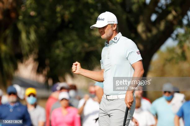Matt Jones of Australia reacts to his birdie on the 12th green during the final round of The Honda Classic at PGA National Champion course on March...