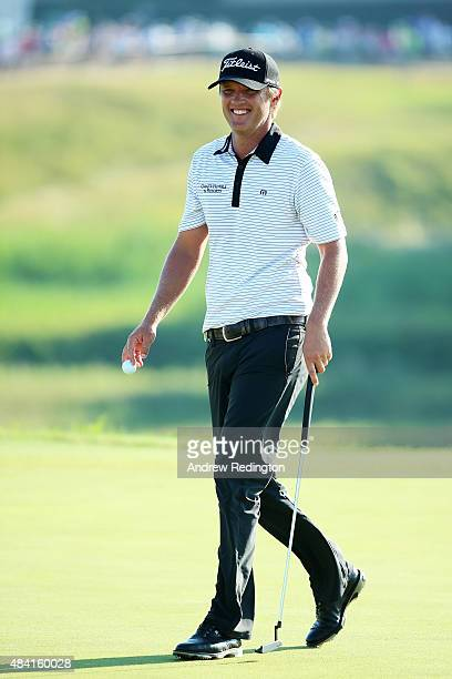 Matt Jones of Australia walks across a green during the third round of the 2015 PGA Championship at Whistling Straits on August 15, 2015 in...