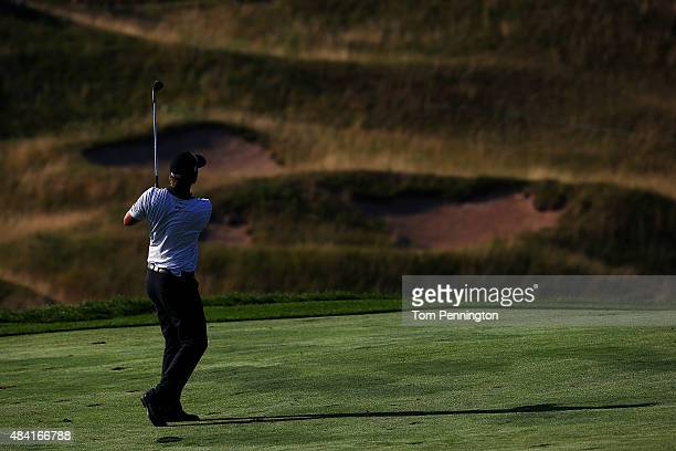 Matt Jones of Australia watches a shot during the third round of the 2015 PGA Championship at Whistling Straits at on August 15 2015 in Sheboygan...