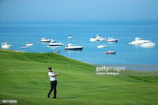 Matt Jones of Australia watches his second shot on the fourth hole during the third round of the 2015 PGA Championship at Whistling Straits on August...