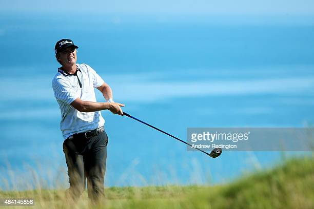 Matt Jones of Australia watches his tee shot on the fifth hole during the third round of the 2015 PGA Championship at Whistling Straits on August 15,...