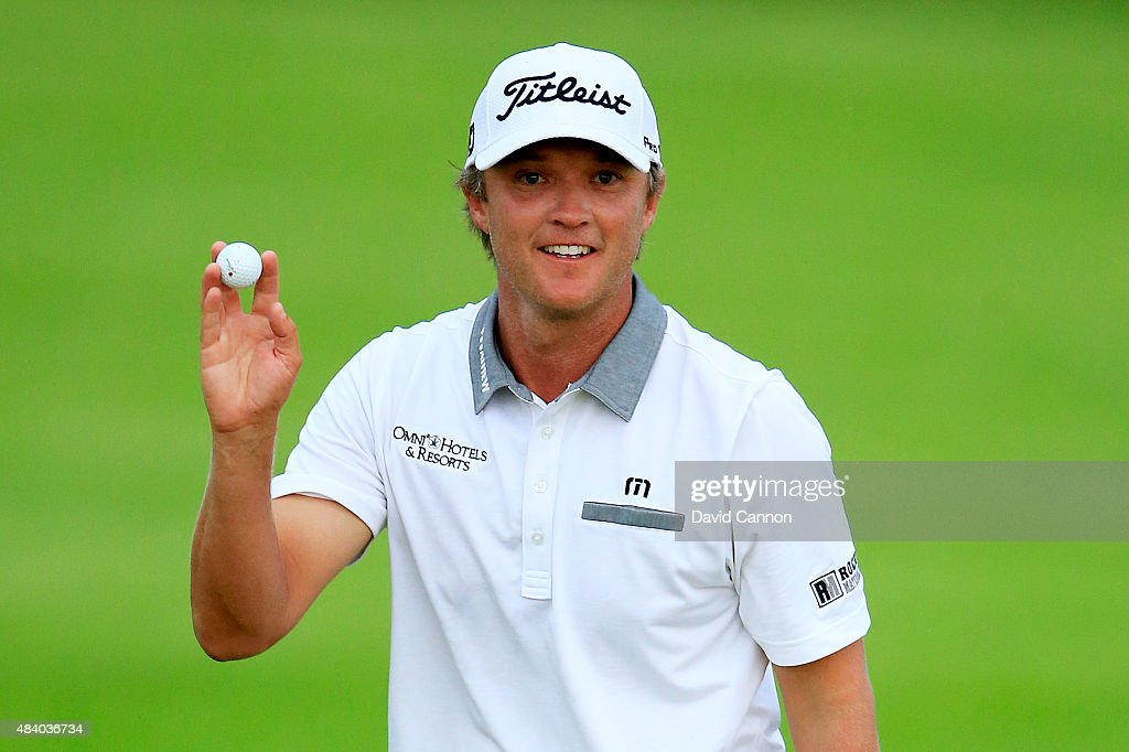 Matt Jones of Australia waves after a birdie on the 2nd hole during the second round of the 2015 PGA Championship at Whistling Straits on August 14, 2015 in Sheboygan, Wisconsin.