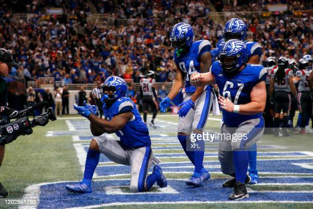 Matt Jones of the St Louis BattleHawks celebrates with his teammates after a touchdown during the XFL game against the New York Guardians at The Dome...