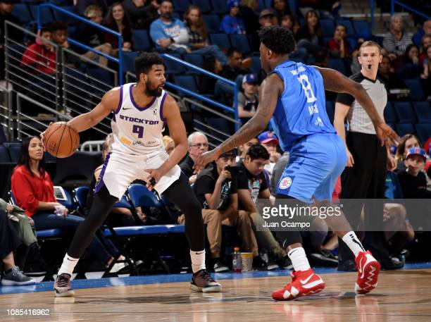 Matt Jones of the Stockton Kings handles the ball against Jamel Artis of the Agua Caliente Clippers of Ontario on January 19 2019 at Citizens...