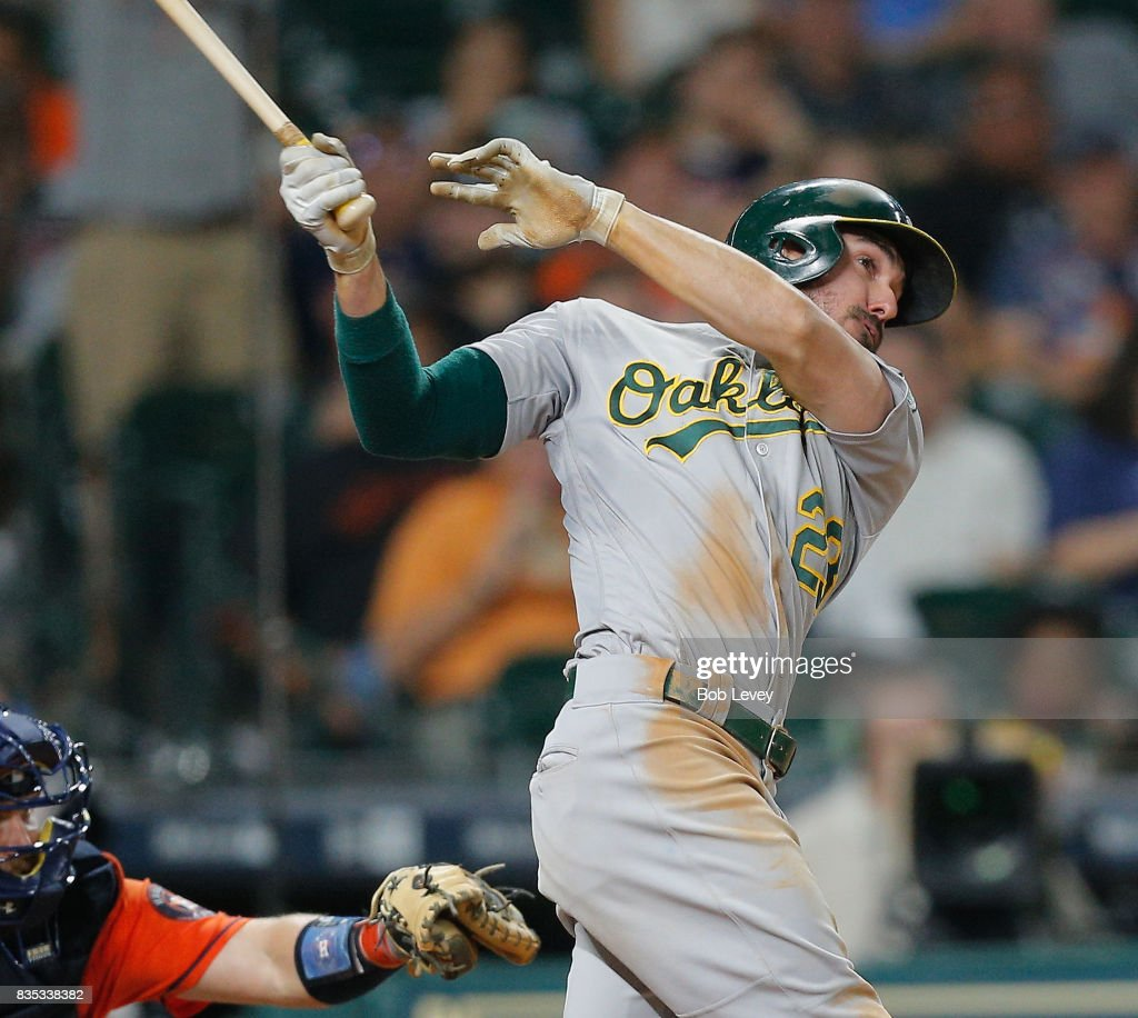 Matt Joyce #23 of the Oakland Athletics hits a home run in the eighth inning against the Houston Astros at Minute Maid Park on August 18, 2017 in Houston, Texas.