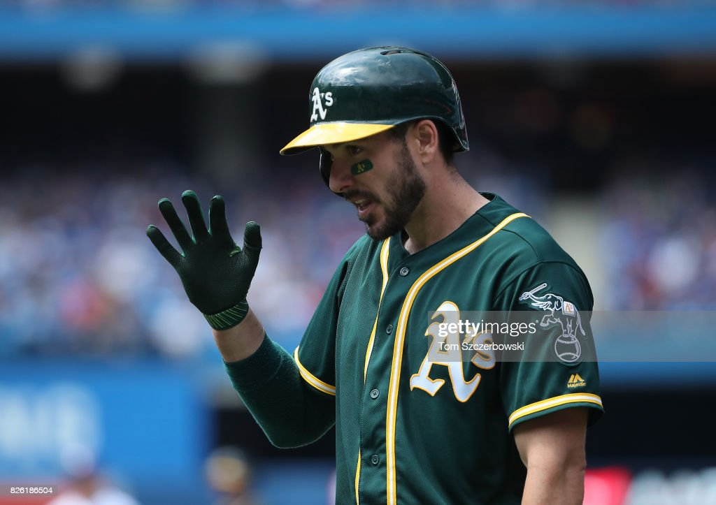Matt Joyce #23 of the Oakland Athletics reacts after grounding out in the sixth inning during MLB game action against the Toronto Blue Jays at Rogers Centre on July 27, 2017 in Toronto, Canada.