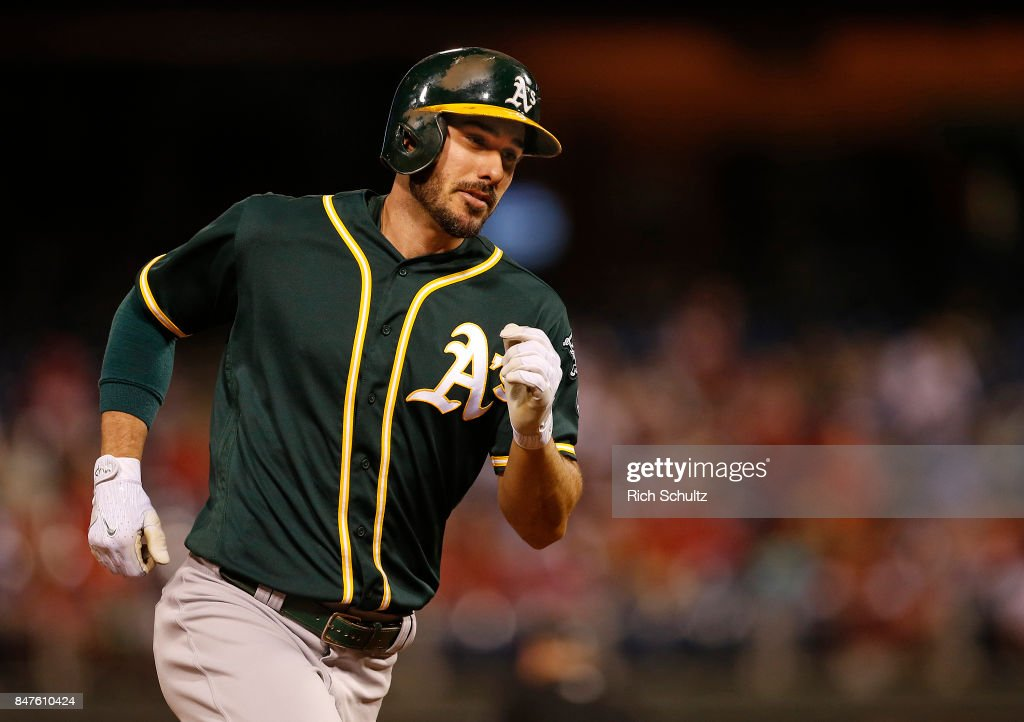 Matt Joyce #23 of the Oakland Athletics rounds third base after hitting a two-run home run against the Philadelphia Phillies during the second inning of a game at Citizens Bank Park on September 15, 2017 in Philadelphia, Pennsylvania. The A's defeated the Phillies 4-0.