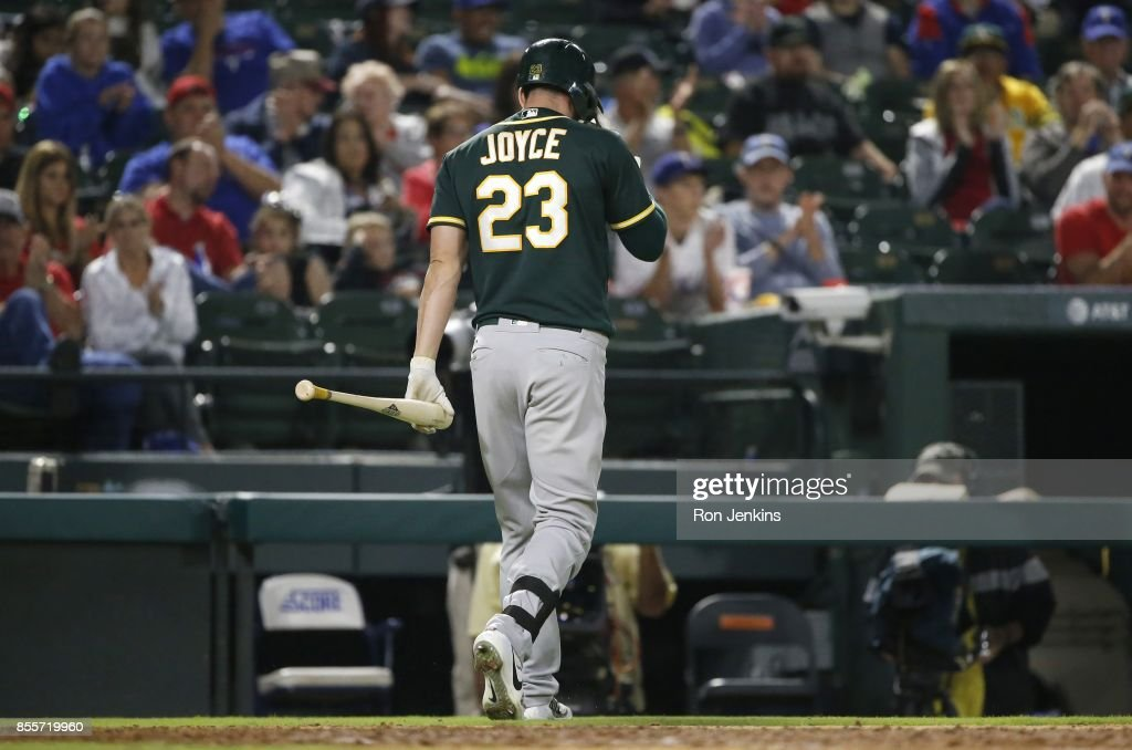 Matt Joyce #23 of the Oakland Athletics walks away after striking out against the Texas Rangers during the ninth inning at Globe Life Park in Arlington on September 29, 2017 in Arlington, Texas. The Rangers won 5-3.