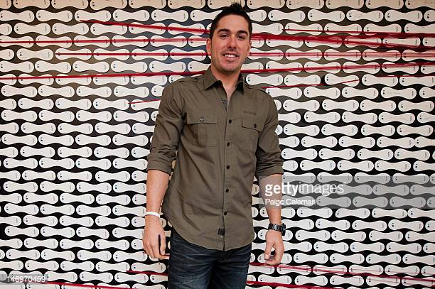 Matt Joyce of the Tampa Bay Rays poses by the Rawlings signature wall during the MLB AllStar LeadOff Event June 5 2012 at the MLB Fan Cave Broadway...