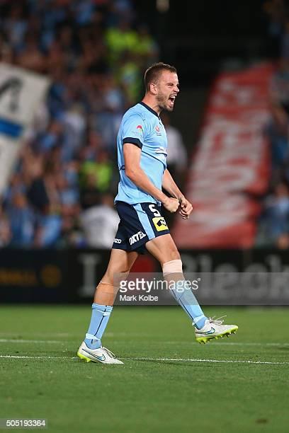 Matt Jurman of Sydney FC celebrates victory during the round 15 ALeague match between the Western Sydney Wanderers and Sydney United at Pirtek...