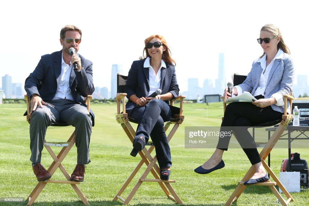Matt Kamienski, Presidents Cup tournament director, Joelle Grunberg, LACOSTE CEO, and moderator Laura Neal attend LACOSTE 'Official Apparel Provider' unveiling during the 2017 Presidents Cup Media Day at Liberty National Golf Club on August 21, 2017 in Jersey City, New Jersey.