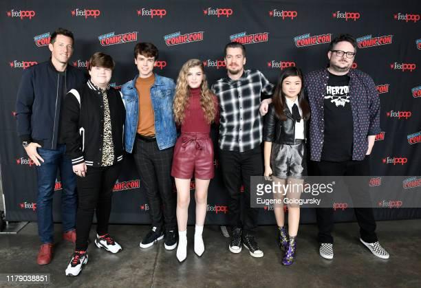 Matt Kaplan, Jeremy Ray Taylor, Sam Ashe Arnold, Lyliana Wray, Rafael Casal, Miya Cech and BenDavid Grabinski pose for a photo during Nickelodeon's...