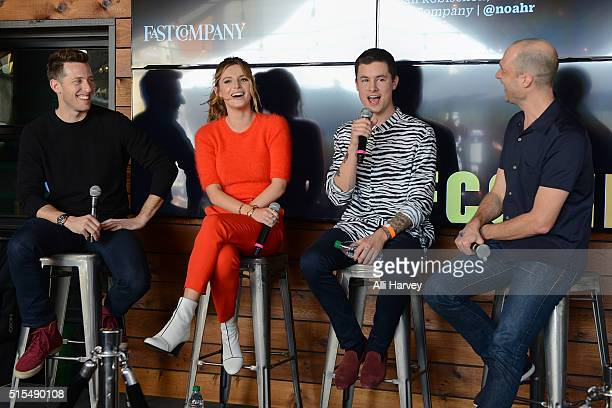 Matt Kaplan President of Awesomeness Films Bella Thorne Kian Lawley and Noah Robishcon Executive Editor of Fast Company attend the Fast Company Grill...